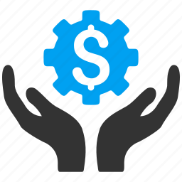 dollar, engineering, gear, hands, industrial, settings, tools icon