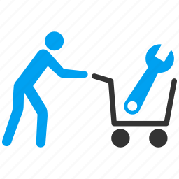 business, buy, settings, shop, shopping cart, tools, work shop icon
