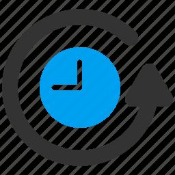 clock, history, refund, restoration, restore, rework, time icon