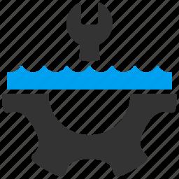 bath, gear, liquid, pipe configuration, plumbing, repair, water service icon