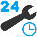 24 hours, clock, repair, service, spanner, work time, wrench icon