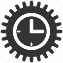 clock, configuration, gear, options, setting, settings, time tools icon
