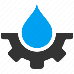 drop, ecology, engineering, gear, liquid, technology, water service icon