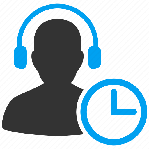 call center, clock, headset, operator, support, telephone, time icon