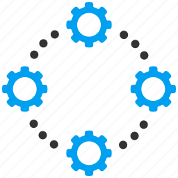 communication, connection, gears, internet, mechanical, motion, network icon