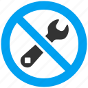 closed, forbidden, repair, restricted, service, tools, wrench icon