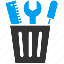 bin, bucket, ruler, scewdriver, toolbox, tools, wrench icon