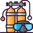dive, mask, sea, diving, air tank, scuba icon