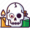 death, skull, horror, halloween, poison, bottle, candle