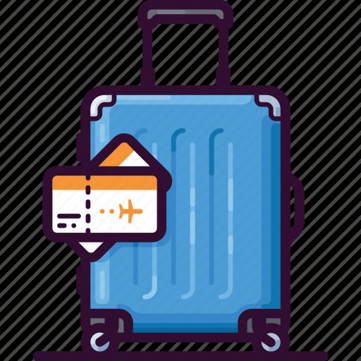 bag, baggage, luggage, ticket, tourism, travel icon