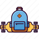 backpack, longboard, skateboard, teenager, rucksack icon