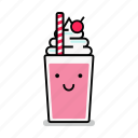 beverage, happy, milk, milkshake, shake, smiling, straw icon