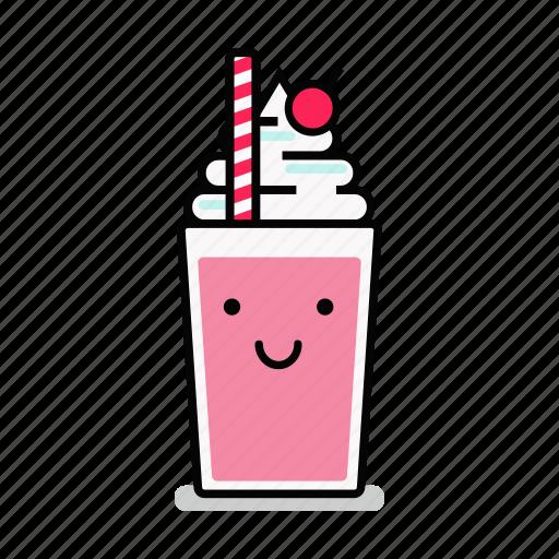 beverage, happy, milk, milkshake, shake, smiling, straw icon