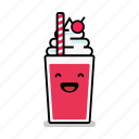 beverage, happy, laughing, milk, milkshake, shake, straw icon