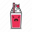 beverage, milk, milkshake, shake, straw, surprised, worried icon