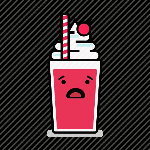 beverage, milk, milkshake, shake, straw, surprised, worried icon