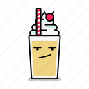 angry, beverage, milk, milkshake, shake, straw, upset icon