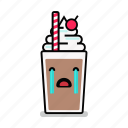 beverage, crying, milk, milkshake, sad, shake, straw icon
