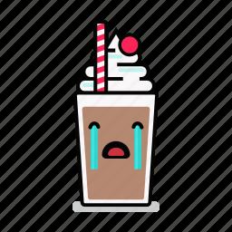 beverage, crying, milk, milkshake, sad, shake, straw icon