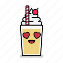 beverage, love, milk, milkshake, shake, straw, valentine icon