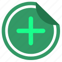 add, good, label, plus, sticker icon