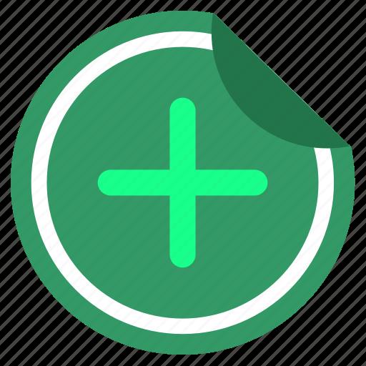 add, good, label, plus, sticker icon
