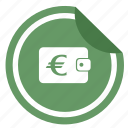 euro, label, money, sticker, wallet icon