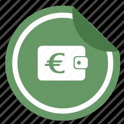 euro, label, money, sticker, wallet icon