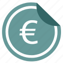 change, euro, label, money, pay, sticker icon