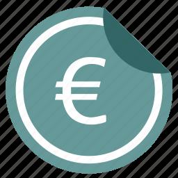 change, euro, label, money, pay, sticker icon