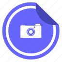 camera, digital, label, photo, shot, sticker icon