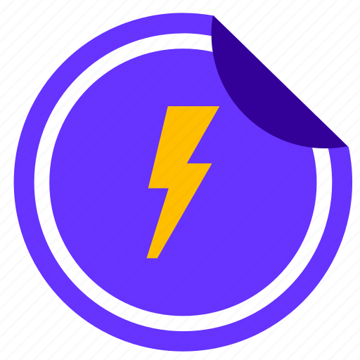 electric, label, music, rock, shock, sticker icon