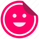 enjoy, face, label, smile, sticker icon