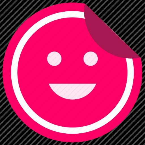 enjoy, face, label, smile, sticker icon