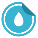 drink, drop, label, sticker, water icon