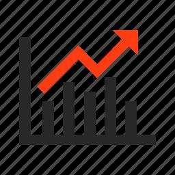 arrow, business, presentation, progress, schedule icon