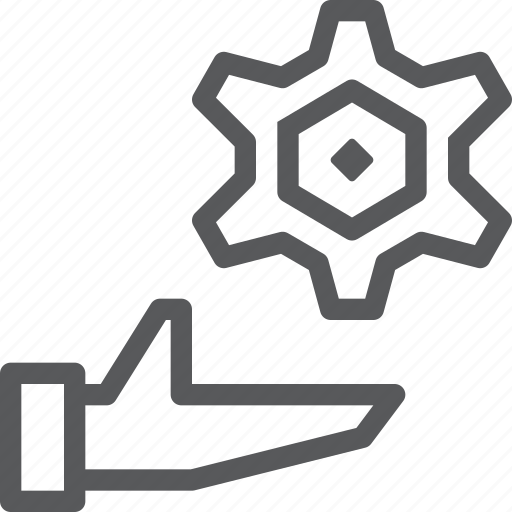 cog, configure, customize, gear, hand, preferences, process, settings icon
