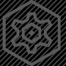 cog, configure, customize, gear, hexagon, preferences, process, settings icon