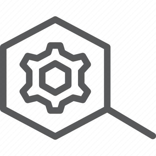 cog, configure, customize, gear, magnifier, process, search, settings icon