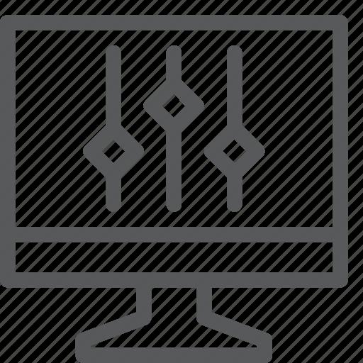 computer, control, line, menu, settings, slider, vertical icon