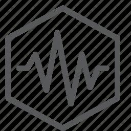 heartbeat, hexagon, lifeline, pulse, sensor, settings, signal, wave icon