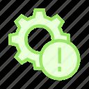 error, exclamation, option, setting, warning icon