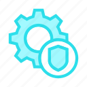 configuration, protection, secure, setting, shield icon
