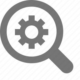 cog, customize, gear, magnifier, magnify, preferences, search, settings icon