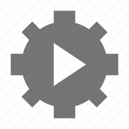 configuration, gear, movie, play, settings, video icon