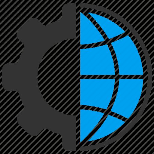 earth, engineering, gear, global, globe, industry, world icon