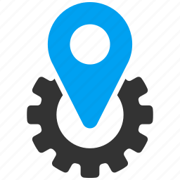 factory, gear, industrial, industry, machinery, map pointer, technology icon
