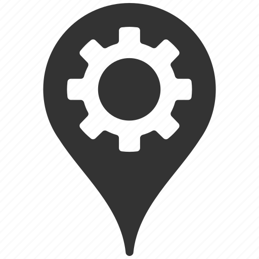 engineering, gear, industry, location, map marker, navigation, pointer icon