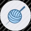 ball, knit, pin, sewing, tailoring, wool, yarn
