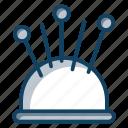 needle cushion, needles holder, pin keeper, pincushion, sewing pins icon